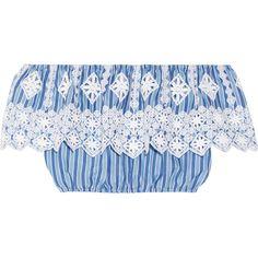 Miguelina Dakota off-the-shoulder crochet-trimmed striped cotton top found on Polyvore featuring tops, crop top, light blue, off the shoulder tops, blue stripe shirt, cotton blouses, blue blouse and stripe shirt