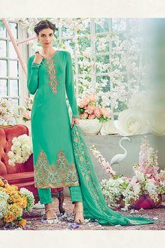 Green Color Georgette Fabric Salwar Kameez