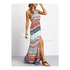 SheIn(sheinside) Multicolor Vintage Print Split Maxi Dress ($19) ❤ liked on Polyvore featuring dresses, summer dresses, summer maxi dresses, maxi dresses, beach maxi dress and beach dresses