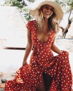 Tularosa 'Sid' Polka Dot Wrap Maxi Dress (Mykonos continued | Natasha Oakley Blog)