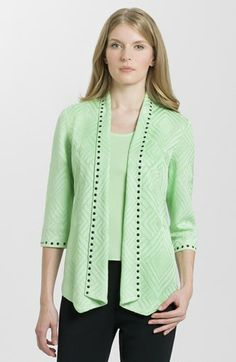 Ming Wang Embellished Three Quarter Sleeve Knit Jacket available at #Nordstrom