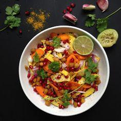Vanløse blues.....: Kød fri mandag: Indiske rodfrugter med kikærter & granatæble