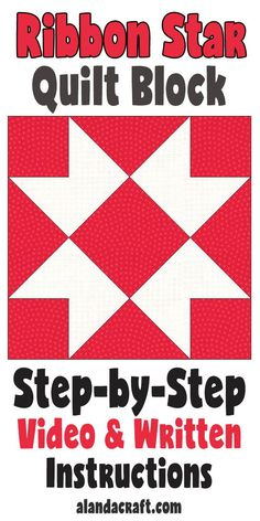 Quilt Block: Ribbon Star Quilt Block Tutorial - Learn how to make this easy quilt block. Full step-by-step video and written quilt block tutorial. A simple quilt block pattern. Quilt Blocks Easy, Quilt Block Patterns, Pattern Blocks, Star Blocks, Easy Quilts, Quilting Tips, Quilting Tutorials, Quilting Designs, Modern Quilting