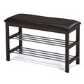 Brown Bonded Leather Walnut Frame Bench | Overstock.com Shopping - The Best Deals on Benches
