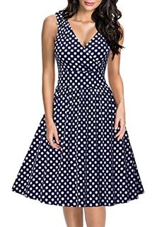 Women V28 Crossover V-neck short sleeve Polka dot pleated floral summer Dress at Amazon Women's Clothing store: