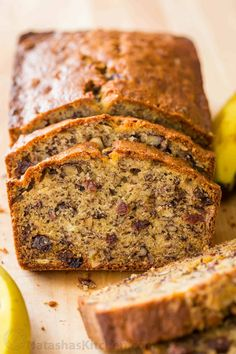 Banana Nut Bread Recipe with walnuts, raisins and ripe bananas to make healthy banana bread