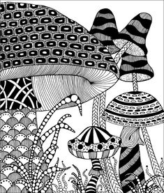 Shroom Tangles by Penny Raile, Certified Zentangle Teacher. she has author books and calendars on Zentangle. Doodles Zentangles, Tangle Doodle, Zentangle Drawings, Zentangle Patterns, Doodle Drawings, Doodle Art, Zentangle Art Ideas, Zen Doodle Patterns, Doodle Borders