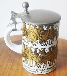 Beer Stein With Italian Depiction, Stein With Pewter Lid, Stein With Depiction of 1671 Engraving German Beer Steins, Christmas Sale, White Christmas, Makers Mark, Pewter, My Etsy Shop, Ceramics, Mugs, Tableware