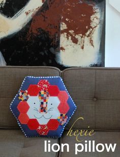 Hexie Lion Pillow Tutorial - A Stop on the 12 Hexies Blog Hop, by Abby at While She Naps
