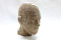 Figuras 3D en #carton hechas por Cartonlab #cabeza de #carton