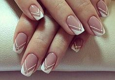 summer french nails Half Up French Nail Art, French Nail Designs, French Tip Nails, Nail Art Designs, Short French Nails, Gel Manicure Designs, French Manicures, Nails Design, Striped Nail Designs