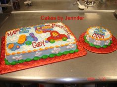 Planes Trains and Cars - All buttercream.  Did to match the napkin provided by the customer.