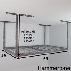 Available in white or grey, this overhead garage storage rack is the perfect solution for space-saving storage. Simply attach this 4 x 6 rack to the ceiling and store your items. Different sizes allow