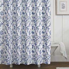 Shop for Laura Ashley Charlotte Blue/White Floral Cotton Shower Curtain (72 x…