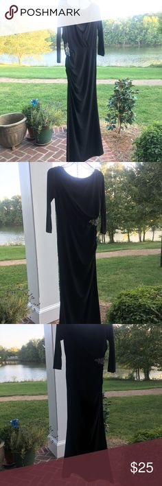 Eliza J New York Black floor length dress size 6 Classic black 3/4 length sleeve gown from Eliza J New York. With a high round cut front and low v neck back you could easily reverse them and wear it either way. Embellished beading and rhinestones on the side with a zipper up the other. Gorgeous for a classy night out or a simple party 🎉. Size 6. A couple snags in the sleeve as shown in photos. Not noticeable in person when wearing. Great NYE dress or holiday party. Open to offers 😊 thanks…
