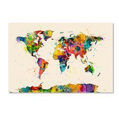 World map paint splashes photographic print by michael tompsett map of the world map watercolor photographic print gumiabroncs Choice Image