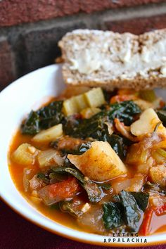 Tomato & Rosemary Soup w/ Kale & Potatoes : eatingappalachia.com