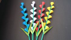 33 Beautiful Paper Crafts Beautiful Paper Crafts Diy How To Make Beautiful Paper Flower Stick For Room Decoration Paper Flower Vase, Tissue Paper Flowers, Paper Roses, Origami Paper, Paper Quilling, Diy Paper, Paper Crafts, Easy Origami Flower, Origami Flowers