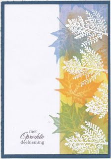 By Anita Poot. Mask the strip. Sponge, blending Distress inks shabby shutters, mustard seed, shaded lilac, tea dye. Remove mask. Stamp leaves in color. Dry overnight. Stamp ferns in VersaMark & emboss in white powder. So pretty!