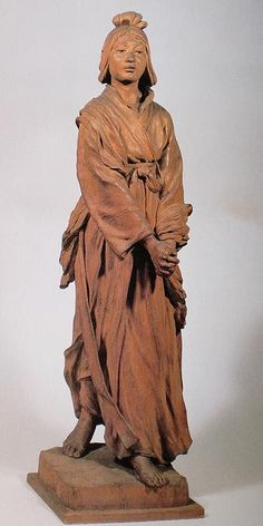 Wooden statue 'Obako, heroine of ancient times' by YAMAZAKI Choun 1908, Japan 山崎朝雲 「大葉子」