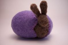 Lavender Wool Felt Easter Egg with A Chocolate Bunny by newtknees