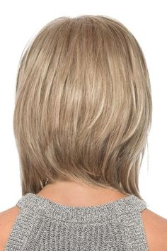 Estetica Wigs - Sky | NameBrandWigs.com Modern Bob Hairstyles, Stacked Bob Hairstyles, Bob Hairstyles For Fine Hair, Lob Hairstyle, Trending Hairstyles, Hairstyles Haircuts, Gold Blonde Highlights, Long Bob With Bangs, Lob Styling