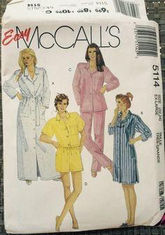 McCalls Sewing Pattern 5114 sleepwear PJ Pajamas Nightshirt misses XL 22 24 Vtg #McCall #sleepwear