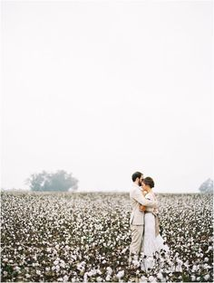 Love this gorgeous wedding photography in a classic Southern cotton field.  What a timeless and simple shot!