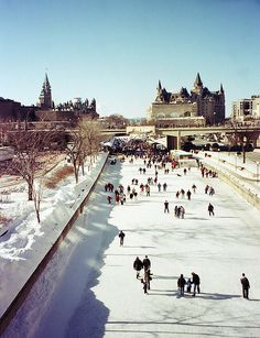 Rideau Canal - Ottawa, Ontario, Canada. The longest skating rink in the world. ~~ Such fun skating on this, and getting a Beavertail afterwards (cinnamon & sugar covered cross between a pancake and a donut, with lemon juice squeezed on top.) YUM.