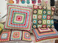 Crochet Cushions. We used to have these when I was a kid. Mom used to crochet and knit and sew, do crafts, paint- plus all the usual housewifey stuff AND raise a kid and deal with an old fashioned husband. She continues to amaze me when I think of her.♥