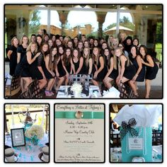 ncl mother daughter breakfast at tiffany tea: little black dresses, tiffany blue bags for table decor, white flowers and white candles.