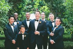 Navy Tuxedos with Black Bowties | Express | Onelove Photography | TheKnot.com