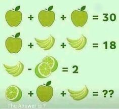 This is a very interesting math equation puzzle question. In this math puzzle question, you will be shown some equations. Variables in these equations are represented by fruits. Your challenge is to solve these math equations Math For Kids, Puzzles For Kids, Fun Math, Math Games, Math Activities, Math Questions, Trick Questions, Math Challenge, Math Problem Solving