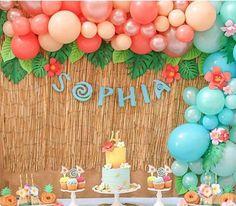 Moana Birthday Decorations, Moana Birthday Party Theme, Moana Themed Party, Sofia The First Birthday Party, Luau Theme Party, 4th Birthday Parties, Luau Birthday, Birthday Ideas, Festa Moana Baby