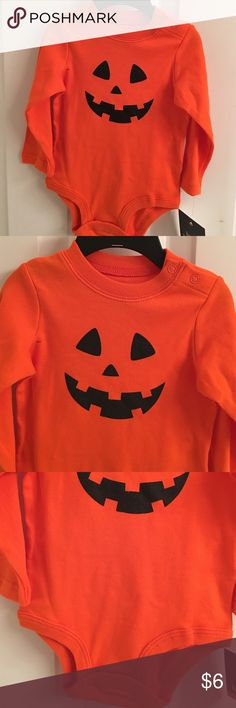 NWT- Infants Happy Halloween Orange Bodysuit NWT- Infants unisex orange Halloween long sleeve bodysuit. Has a pumpkin face in the front. Size 6-9 months. Happy Halloween One Pieces Bodysuits
