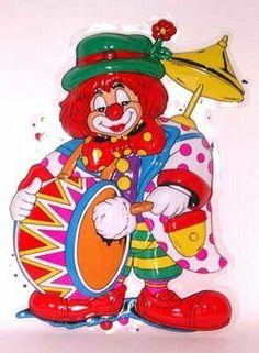 Clown trommel deco plastic 60 x 46 cm - Multi Wish Feestartikelen