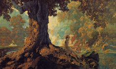 Maxfield Parrish 'Dreaming' or 'October' (modified)1928 | Flickr - Photo Sharing!