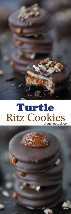 Turtle Ritz Cookies are filled with creamy caramel, coated in chocolate and topped with chopped pecans!