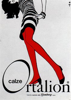 """1969 Poster - Ortalion (Italy)  """"Bemberg: calze Ortalion"""" Advertising Office: R. Gruau Milano, Italy"""