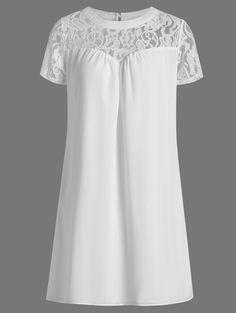 Lace Insert Mini Shift Dress in White | Sammydress.com