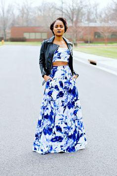 "alt=""maxi skirt, crop top, leather jacket, mac cyber lipstick"""