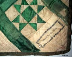 """""""Plead for the Slave"""" Collection of the Royall House.Massachusetts Project & the Quilt Index. Signature Quilts, Civil War Quilts, Antique Quilts, Massachusetts, Outdoor Blanket, Quilting, Antiques, Green, Projects"""