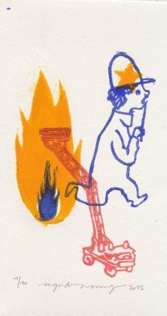 Gravures & Estampes | Ingrid Sissung | Pompier | Tirage d'art en série limitée sur L'oeil ouvert