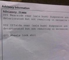 This refreshingly honest MOT test report. | 37 Things Only British People Will Find Amusing