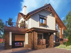 Проект дачного дома с верандой «Лидс»