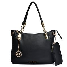 Michael Kors Shoulder Tote with Black Leather