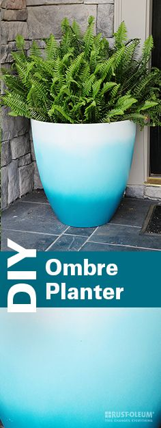 Add a pop of color to your patio or porch with this DIY ombre planter! With Rust-Oleum spray paint, you can make this cheap and easy pot in just a few quick steps. All you need is a plant, a large white pot and your favorite colors of Rust-Oleum spray paint. This simple how-to will guide you along the way!