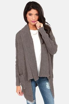 LOVE THIS!!! So cozy to the upcoming holidays! Cardi Party Grey Cardigan Sweater at LuLus.com! #lulus #holidaywear @LuLu*s