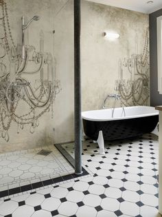 Carta da parati effetto muro per bagno VIKTORIA by Wall&decò design Christian Benini