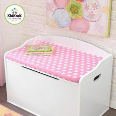 KidKraft Toy Box Cushion, White/Pink Polka Dots for KidKraft Austin Toy Box